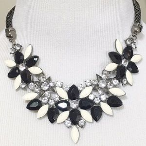 Statement Choker Necklace Floral Gem Rhinestone